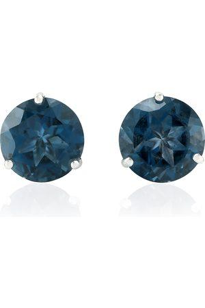 Women Studs - Women's Artisanal Blue 18Kt Solid White Gold Topaz Stud Earrings