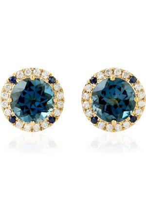 Women Studs - Women's Artisanal Blue 18Kt Yellow Gold Sapphire Topaz Natural Daimond Stud Earring Jewelry