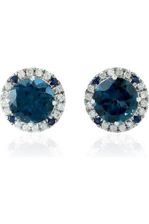 Women Studs - Women's Artisanal Blue 18Kt White Gold Sapphire Daimond Topaz Stud Earring Handmade Jewelry
