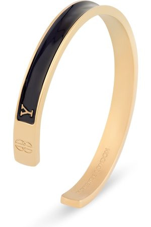 Men Bracelets - Men's Artisanal Black 18ct Gold 'Y' Initial Cuff - & Plated Florence London