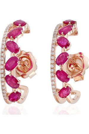Women's Artisanal 18kt Rose Gold Hoop Earring Pave Diamond Ruby