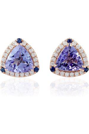 Women Studs - Women's Artisanal Blue 18Kt Solid Rose Gold Pave Diamond Sapphire Tanzanite Stud Earring Handmade Jewelry