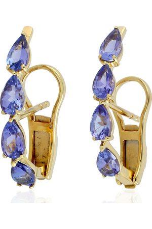 Women Studs - Women's Artisanal Rose Gold 18Kt Yellow Gold Tanzanite Stud Earring Handmade Jewelry