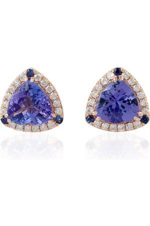 Women Studs - Women's Artisanal Rose Gold 14Kt Solid Pave Diamond Triangle Shape Stud Earrings Tanzanite Jewelry