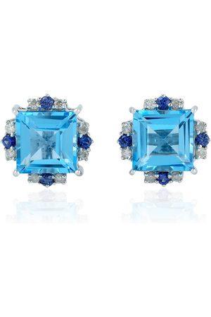 Women Studs - Women's Artisanal Blue 18Kt White Gold Sapphire Natural Diamond Topaz Stud Earring Handmade Jewelry