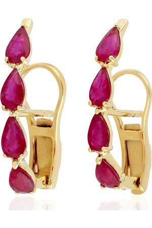 Women's Artisanal Rose Gold 18Kt Yellow Gold Ruby Stud Earrings Handmade Jewelry