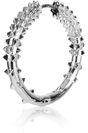 Women Hoop - Women's Silver Rhodium Medium Hoop Earring - Kasun