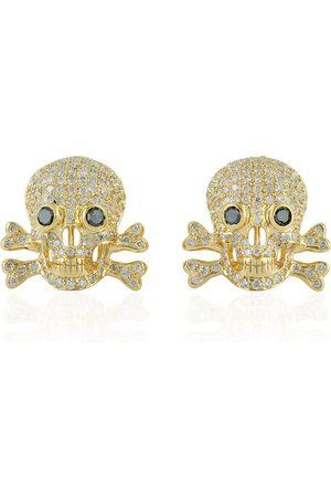 Women Studs - Women's Artisanal White Skull Stud Earring 18Kt Yellow Gold Pave Diamond
