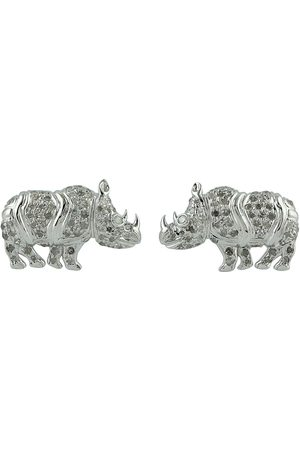 Women's Artisanal White 18Kt Solid Gold Rhinoceros Stud Earring Pave Diamond Silver