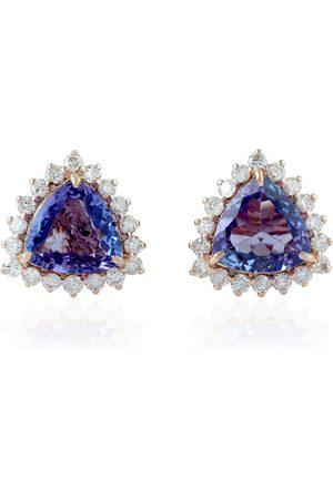 Women Studs - Women's Artisanal Rose Gold 14Kt Solid Natural Diamond Tanzanite Stud Earring Jewelry