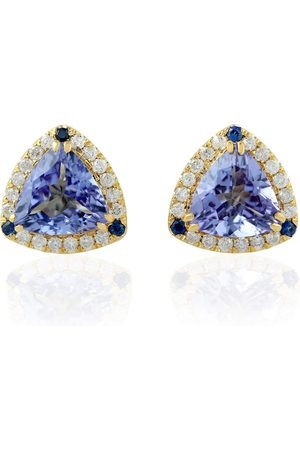 Women Studs - Women's Artisanal Blue 18Kt Yellow Gold Pave Diamond Triangle Shape Stud Earring Sapphire Tanzanite Jewelry