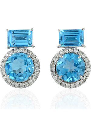 Women Studs - Women's Artisanal Blue 18Kt White Gold Topaz Natural Diamond Stud Earring Jewelry
