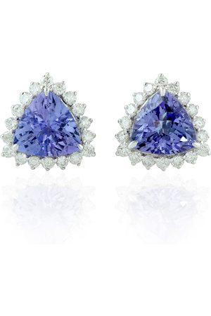 Women's Artisanal White Gold 18Kt Solid Natural Diamond Tanzanite Stud Earrings Handmade Jewelry