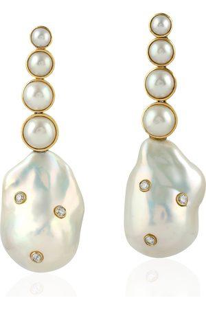 Women Earrings - Women's Artisanal Rose Gold 18Kt Yellow Gold Natural Pearl Bezel Set Diamond Dangle Earrings
