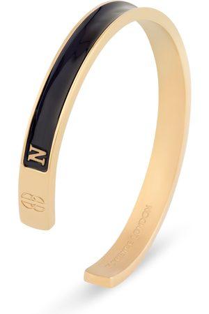Men Bracelets - Men's Artisanal Black 18ct Gold 'N' Initial Cuff - & Plated Florence London