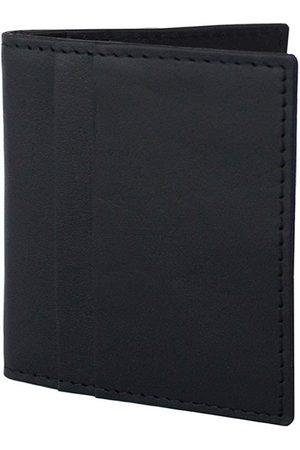 Men Wallets - Men's Black Leather Money Clip Wallet Nappa Dori