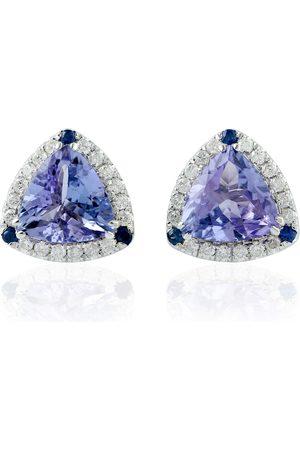 Women Studs - Women's Artisanal Blue 14Kt White Gold Natural Diamond Sapphire Tanzanite Gemstone Stud Earrings Jewelry