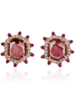Women Studs - Women's Artisanal Rose Gold 18Kt Solid Designer Stud Earring Ruby Tourmaline