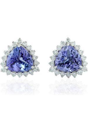 Women's Artisanal White Gold Triangle Shape Stud Earring 14Kt Genuine Diamond Tanzanite Jewelry