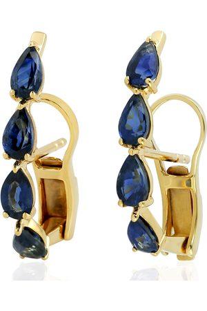 Women Studs - Women's Artisanal Blue 18Kt Yellow Gold Sapphire Stud Earring Handmade Jewelry