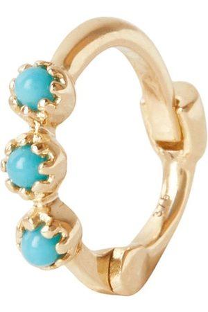 Women Hoop - Women's Gold Mini Turquoise Trilogy Huggie Hoop Earring 9K Zohreh V. Jewellery