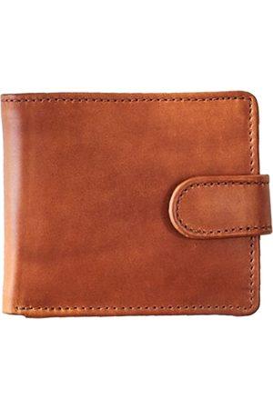 Men's Black Brass Vida Tan Leather Tri Fold Wallet With Rfid VIDA VIDA