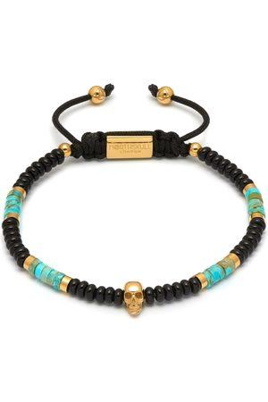 NORTHSKULL Black Onyx / Turquoise & Gold Atticus Skull Macramé Bracelet