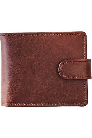 Men Wallets - Men's Brown Brass Vida Dark Leather Tri Fold Wallet With Rfid VIDA VIDA