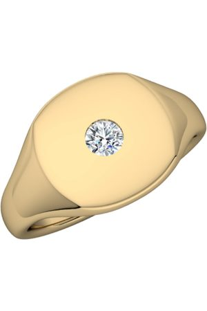 Men Rings - Men's White 14K Gold Signet Ring With Diamond Undefined Jewelry