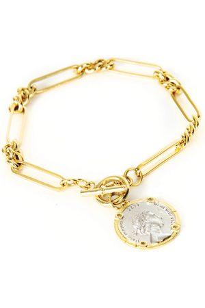 Serge DeNimes Plated Silver State Coin Bracelet