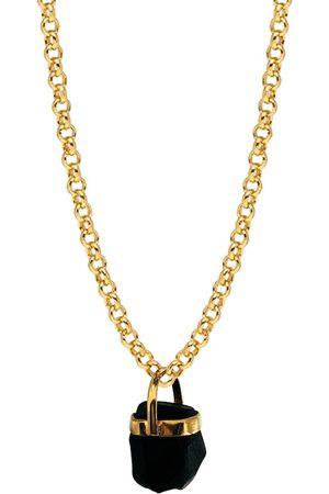 Women Necklaces - Women's Artisanal Black Brass Raw Tourmaline Bridge Set Pendant Mirabelle Jewellery