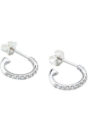 Women Hoop - Women's White Gold Rhodium 14K Diamond Hoop Earring Undefined Jewelry