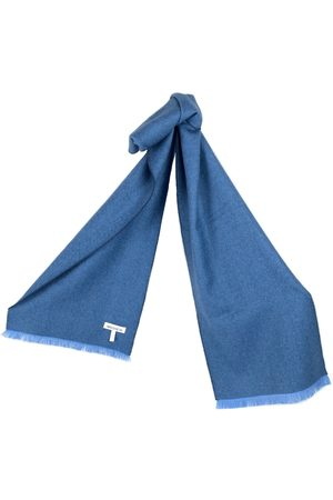 Scarves - Women's Artisanal Blue Silk Yale Baby Alpaca Scarf Washein
