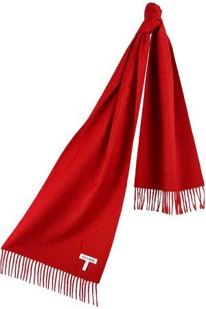 Women's Artisanal Red Cashmere Baby Alpaca Fringed Scarf Washein