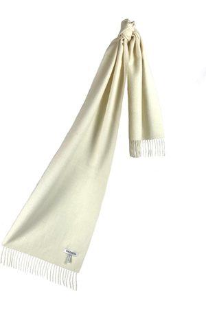 Scarves - Women's Artisanal White Cashmere Baby Alpaca Fringed Scarf Washein