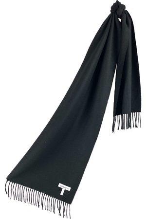 Scarves - Women's Artisanal Black Cashmere Baby Alpaca Fringed Scarf Washein