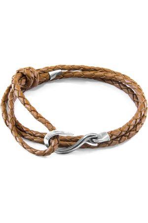 Anchor & Crew Light Heysham Silver & Braided Leather Bracelet