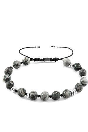 Anchor & Crew Jasper Agaya Silver & Stone Beaded Macrame Bracelet