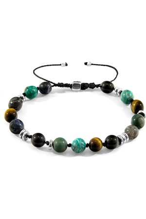 Anchor & Crew Multicoloured Multi Gem Agaya Silver & Stone Beaded Macrame Bracelet