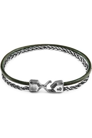 Anchor & Crew Racing Staysail Mast Silver & Round Leather Bracelet