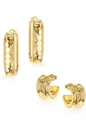 Women Earrings - Women's Low-Impact Gold Kalo Hoop Set YOJ