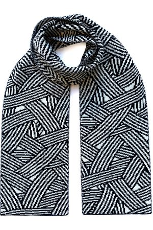Men's Organic Black Wool Geometric Striped & Cashmere Scarf INGMARSON