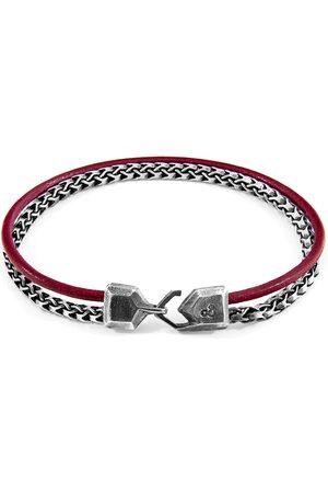 Anchor & Crew Bordeaux Bowspirit Mast Silver & Round Leather Bracelet