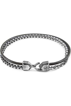 Anchor & Crew Shadow Bowspirit Mast Silver & Round Leather Bracelet