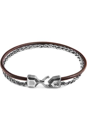 Anchor & Crew Mocha Staysail Mast Silver & Round Leather Bracelet