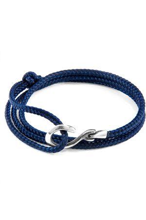 Anchor & Crew Navy Heysham Silver & Rope Bracelet