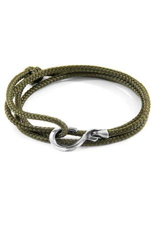 Anchor & Crew Khaki Heysham Silver & Rope Bracelet