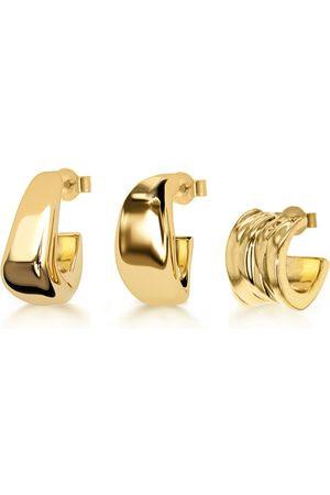 Women Earrings - Women's Low-Impact Gold Onda Hoop Set YOJ