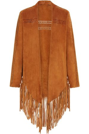 Women's Brown Leather The Bardot Suede Jacket - Tan House of Dharma