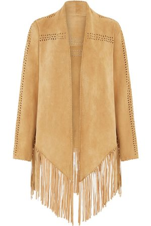 Women Leather Jackets - Women's Natural Leather The Bardot Suede Jacket - Sand House of Dharma